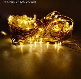 Diwali Decorative  Yellow 12 Meter (15no/33) LED String Lights Serial Bulbs