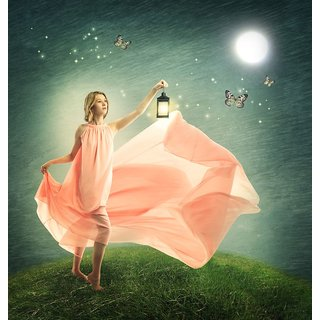 Young woman on a fantasy |size:12x18 inch |Sticker Paper Poster, 12x18 Inch