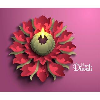 flower diya happy diwali M |12x18 inch|sticker paper poster |Sticker Paper Poster, 12x18 Inch