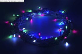 Diwali Decorative 7 Meter Forsted (8mm10no/55) String Lights Serial Bulbs - Multi Color
