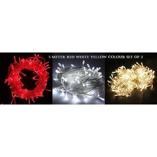Diwali Decorative 5 Meter set of 3 LED String Lights Serial Bulbs - Multicolour