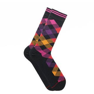 Soxytoes Return Of The Scotsman Black Cotton Calf Length Pack of 1 Pair Argyle for Men Formal Socks (STS0018A)