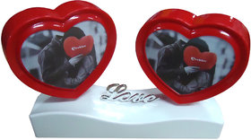 Rotating Twin Heart Photo Frame Valentine Gift with a wonderful Love Greeting card