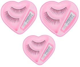 Brahm  Best Quality Black Natural False Eyelashes Fake Eye Lashes - Pack of 3