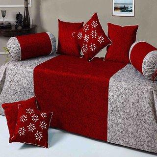 KS21 Homes Velvet Maroon  Diwan Set 8 Pcs (Content 1 Single Bed Sheet, 5 Cushion Cover, 2 Bolster, Total - 8 Pcs Set)