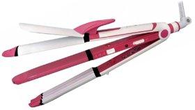 3 in 1 Long Rod Hair Styler - Hair Straightener, Hair Curler  Hair Crimper - RL-HS8076 (Pink)
