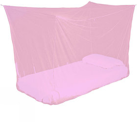 Ans Double bed Mosquito net  5x6.5 ft Pink Plain