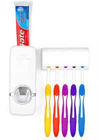 House hold Automatic Toothpaste Dispenser and Tooth Brush Holder Set warrior dispenser (White)