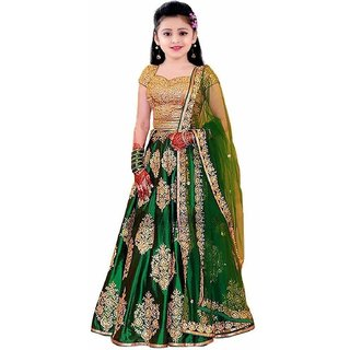 F Plus Fashion Green Taffeta Silk Heavy Embroidered Kids Girls Wedding Wear Semi Stitched Lehenga Choli Free Size