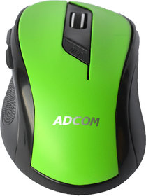 Adcom 6D Slim Wireless Bluetooth Mouse With 6 Programmable Buttons, 1600dpi and 2.4Ghz Nano Receiver (Green)
