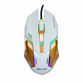 ADCOM LED Back Light 6 Button Wired 6D USB Gaming Mouse,Durable ABS Body for Gamer,(White)