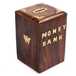 craftshoppee Hand Crafted Wooden Money Bank - Large Piggy Bank - Dolphin Home Decor - Coin Box for Kids  Adult Gifts