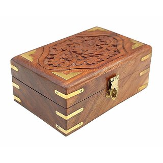 CraftShoppee  Wooden Jewellery Box for Women Jewel Organizer Hand Carved Carvings Gift Items