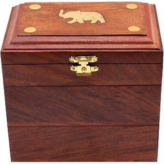 CraftShoppee Wooden Designer Hand-Carved Jewelry Box Jewel Storage Organizer Great Gift Ideas