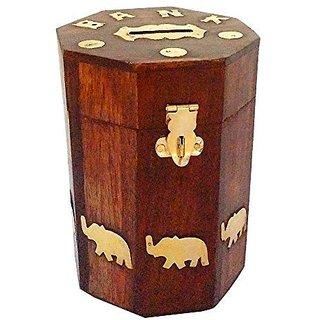 craftshoppee Wooden Piggy Bank - Money Bank - Coin Box - Money Box - Gift Items for Kids