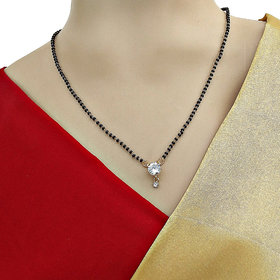 Lucky Jewellery Traditional Latest Style Gold Plated Daily Wear Stone Pendant Necklace Black Bead Chain Mangalsutra for Women (50-H4MA-250-18)