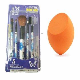 BELLA HARARO Makeup Blender, Sponge set of 1, Wth Brush set of 5, Makeup tool (Multicolour)