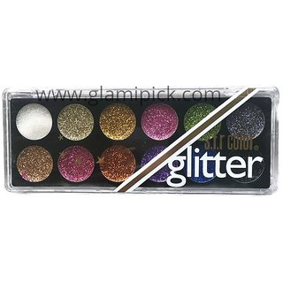 12 Pcs Shimmer Glitter Eye shadow Eyes Pressed Powder Colours 50 gm