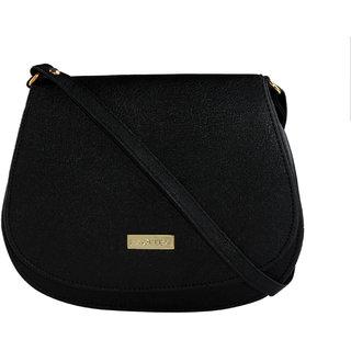 HAQEEBA_Black Leatherette Material Sling Bags For Women