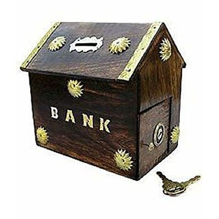 aTOzCRAFTS Hut Shaped Wooden Money Box with Lock Piggy Bank Coin Box Children Gifts