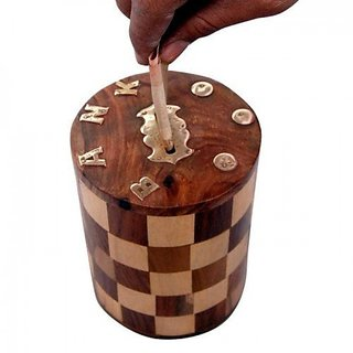 aTOzCRAFTS Wooden  Money Bank Chess Round with Screw Lock Long 7 inch