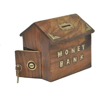 aTOzCRAFTS Handcrafted Antique Home Shaped Wooden Money Bank - Coin Saving Box - Piggy Bank - Gifts for Kids, Girls,