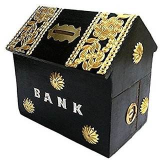 aTOzCRAFTS Kids Wooden Money Bank with Lock (4 Inch)