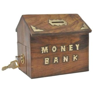 aTOzCRAFTS Handicrafted Wooden Money Bank Kids Piggy Coin Box Gifts