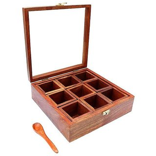 aTOzCRAFTS sheesham Wooden Table Top Masala Dabba Containers Jars Cum Kitchen Spice Box with Spoon (Brown)