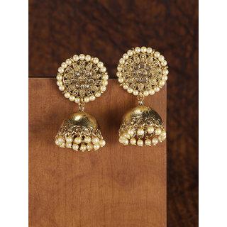 Zaveri Pearls Antique Gold Tone Traditional Jhumki Earring-ZPFK8961