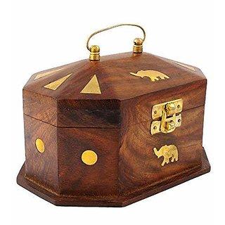 aTOzCRAFTS Handmade Wooden Jewellery Box for Women Jewel Organizer Elephant Decor, 6 Inches