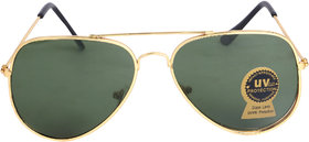 Ivonne Uv Protected Aviator Glass Green Sunglasses