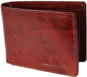 Men Brown Genuine Leather Wallet (7 Card Slot)