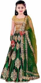 Femisha Creation Green Satin Embroidered Semi-Stitched Lehenga Choli For Girl (Choli- Free Size)