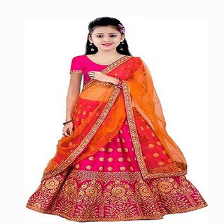 Femisha Creation Orange Silk Heavy Latest Work Kids Girls Traditional Semi Stitched Lehenga Choli Free Size.