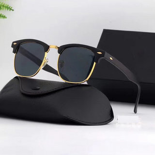 Davidson Black and Gold Clubmaster UV Protected Half Rim Sunglass For Men and Women