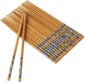 REGAL Set Of 10 Pairs Designer Natural Round Bamboo Reusable Chopsticks, Size 9.5 Inch (Color and Design May Vary)