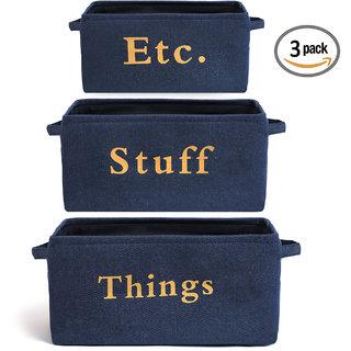 Smile Mom Storage Basket Bin (Set of 3) with Handles, Foldable Organizer for Home,(Small, Medium, Large  Denim Blue)