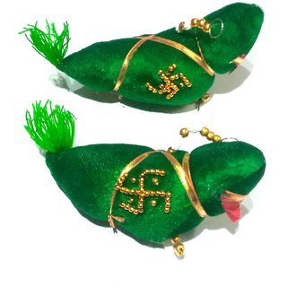 Nawani Wall Hanging Parrot Nazar Battu-Evil Eye Protector-Nazar Suraksha Kawach for Home,Size - 17/6 cm, Set of 2