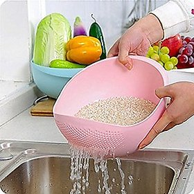 New Rice Plastic Pulses Strainer Fruits Vegetable Noodles Pasta Washing Bowl Strainer multi color