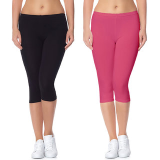 Jakqo Women's Cotton Bio-Wash Capri (Free Size, Pack of 2, Black, Peach Pink)