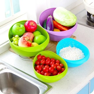 Fresh Plastic Colorful Rinse Fruit Vegetables Basin Wash Rice Sieve Bowl Drainer Kitchen Basket Good Quality