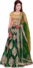 F Plus Fashion Banglory Satin Green Color Heavy Embroidered Women's Wedding Wear Semi Stitched Lehenga Choli Free Size