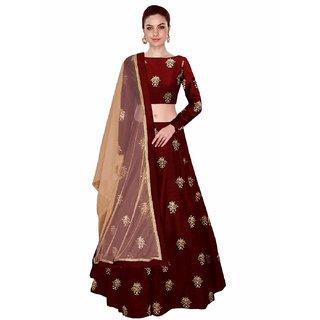 Femisha Creation Maroon Banglory Satin Simple Work Women's Wedding Wear Semi Stitched Lehenga CholiFree Size .
