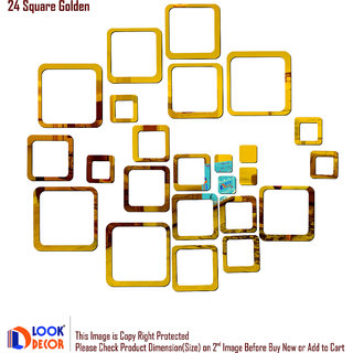 Look Decor-24 Square-(Golden-Pack of 24)-3D Acrylic Mirror Wall Stickers Decoration for Home Wall Office Wall Stylish and Latest Product Code Number 87