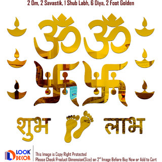 Look Decor-Om Swastik-(Golden-Pack of 14)-3D Acrylic Mirror Wall Stickers Decoration for Home Wall Office Wall Stylish and Latest Product Code Number 472