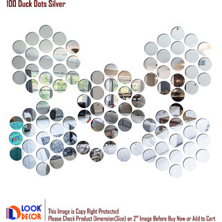 Look Decor-100 Duck Dot-(Silver-Pack of 100)-3D Acrylic Mirror Wall Stickers Decoration for Home Wall Office Wall Stylish and Latest Product Code Number 502