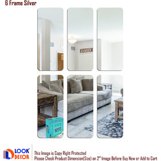 Look Decor-6 Frame-(Silver-Pack of 6)-3D Acrylic Mirror Wall Stickers Decoration for Home Wall Office Wall Stylish and Latest Product Code Number 569