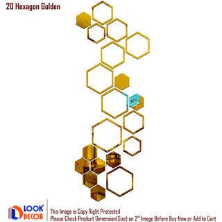 Look Decor-20 Shape Hexagon-(Golden-Pack of 20)-3D Acrylic Mirror Wall Stickers Decoration for Home Wall Office Wall Stylish and Latest Product Code Number 197