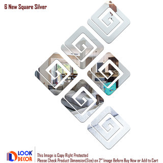 Look Decor-6 New Square-(Silver-Pack of 6)-3D Acrylic Mirror Wall Stickers Decoration for Home Wall Office Wall Stylish and Latest Product Code Number 624